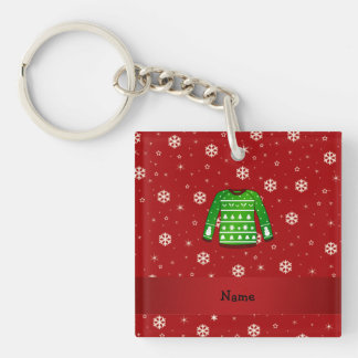 Custom name green ugly christmas sweater Double-Sided square acrylic keychain