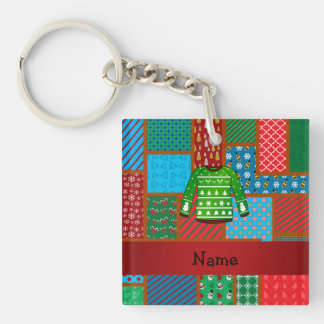 Custom name green ugly christmas sweater Single-Sided square acrylic keychain