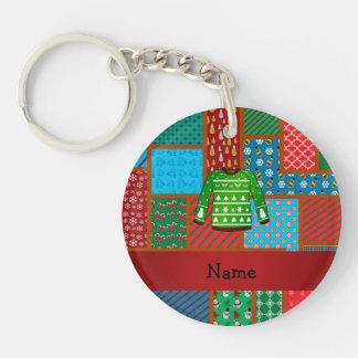 Custom name green ugly christmas sweater Double-Sided round acrylic keychain
