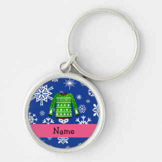 Custom name green ugly christmas sweater Silver-Colored round keychain