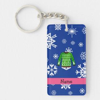 Custom name green ugly christmas sweater Double-Sided rectangular acrylic keychain