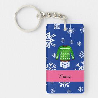 Custom name green ugly christmas sweater Single-Sided rectangular acrylic keychain