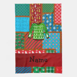 Custom name green ugly christmas sweater kitchen towel