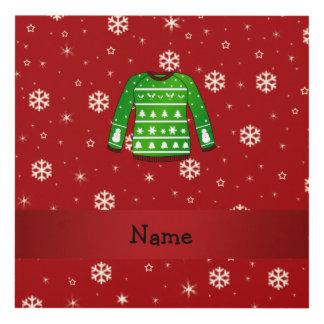 Custom name green ugly christmas sweater panel wall art