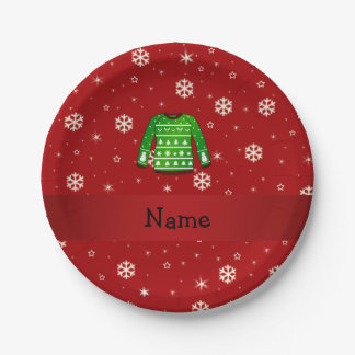 Custom name green ugly christmas sweater paper plate