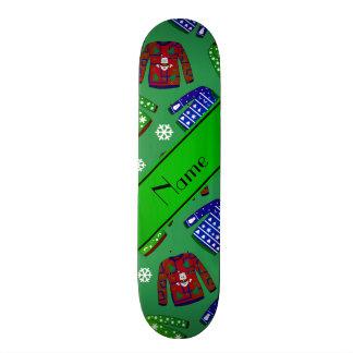 Custom name green ugly christmas sweater pattern skate board deck