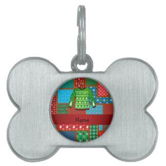 Custom name green ugly christmas sweater pet ID tags