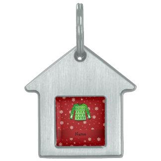 Custom name green ugly christmas sweater pet tag