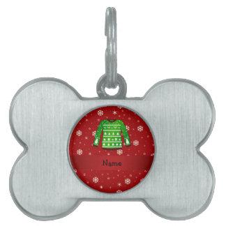 Custom name green ugly christmas sweater pet name tags