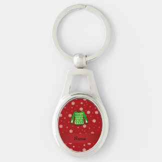 Custom name green ugly christmas sweater Silver-Colored oval metal keychain