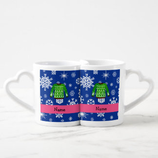 Custom name green ugly christmas sweater couples' coffee mug set