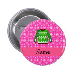 Custom name green ugly christmas sweater pink pinback buttons