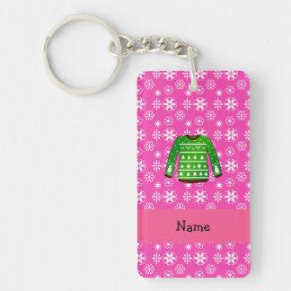 Custom name green ugly christmas sweater pink Single-Sided rectangular acrylic keychain