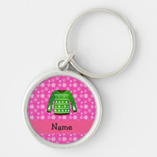 Custom name green ugly christmas sweater pink Silver-Colored round keychain