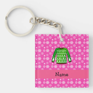 Custom name green ugly christmas sweater pink Single-Sided square acrylic keychain