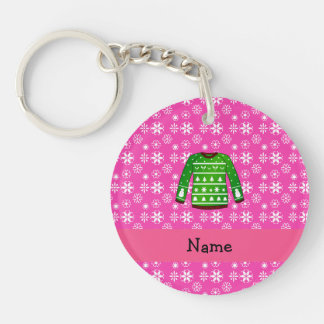 Custom name green ugly christmas sweater pink Double-Sided round acrylic keychain
