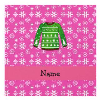 Custom name green ugly christmas sweater pink panel wall art
