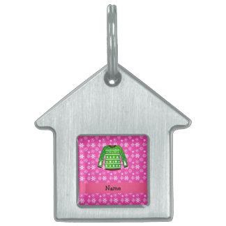Custom name green ugly christmas sweater pink pet ID tag