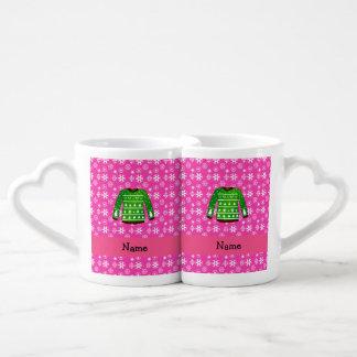 Custom name green ugly christmas sweater pink couples' coffee mug set