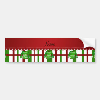 Custom name green ugly christmas sweater plaid car bumper sticker