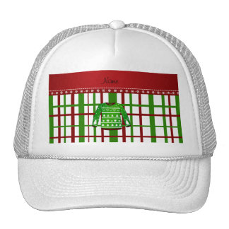 Custom name green ugly christmas sweater plaid trucker hat