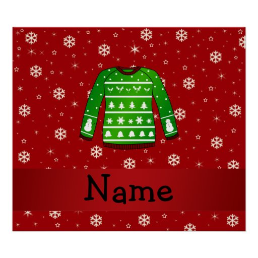 Custom name green ugly christmas sweater poster zazzle for Personalized last name university shirts