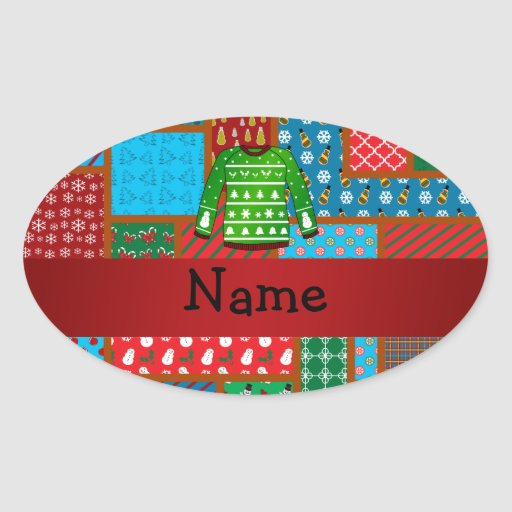 Custom name green ugly christmas sweater oval sticker