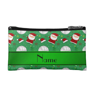 Custom name green volleyball christmas pattern cosmetics bags
