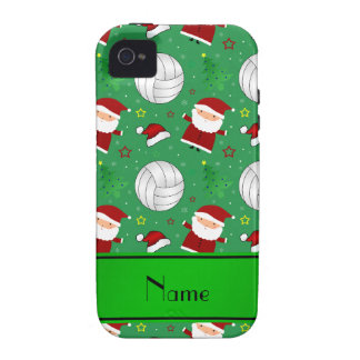 Custom name green volleyball christmas pattern Case-Mate iPhone 4 cover