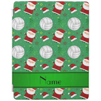 Custom name green volleyball christmas pattern iPad cover