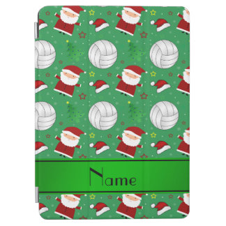 Custom name green volleyball christmas pattern iPad air cover
