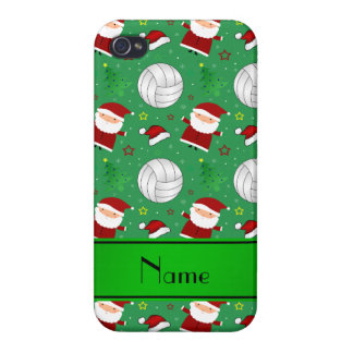 Custom name green volleyball christmas pattern iPhone 4/4S covers