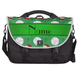 Custom name green volleyball christmas pattern laptop messenger bag