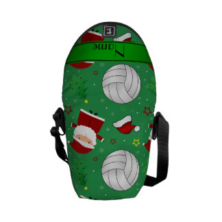 Custom name green volleyball christmas pattern courier bag