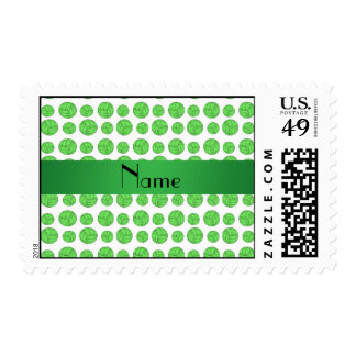 Custom name green volleyball pattern postage