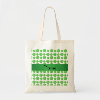 Custom name green volleyball pattern tote bag