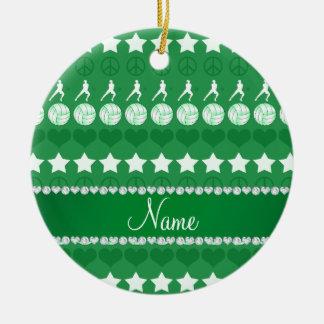 Custom name green volleyballs stars hearts peace ceramic ornament