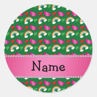 Custom name green watermelons rainbows hearts stickers