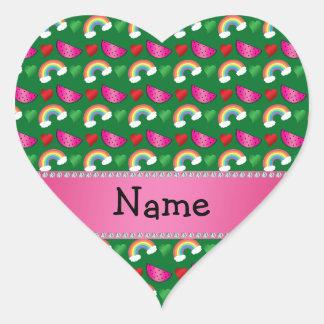Custom name green watermelons rainbows hearts sticker