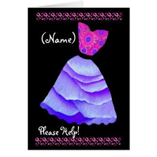CUSTOM NAME Greeter Invitation PURPLE Gown Greeting Card
