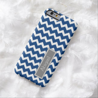 Custom Name Grey Blue Chevron Barely There iPhone 6 Case
