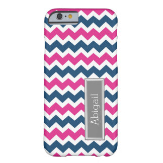 Custom Name Grey Blue Pink Chevron Barely There iPhone 6 Case