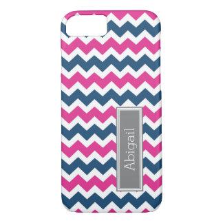 Custom Name Grey Blue Pink Chevron iPhone 7 Case