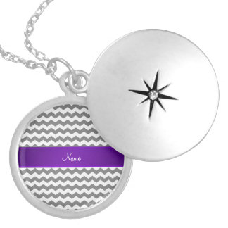 Custom name grey chevrons purple stripe round locket necklace