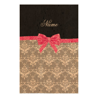 Custom name grey damask pink glitter bow cork paper prints