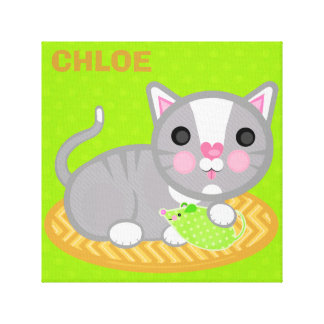 Custom Name Grey Kitty Cat Wrapped Canvas Canvas Print