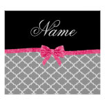 Custom name grey moroccan pattern pink glitter bow poster