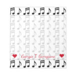 [ Thumbnail: Custom Name + Grid of Musical Notes Notepad ]