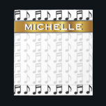 """Custom Name   Grid of Musical Notes Notepad<br><div class=""""desc"""">This notepad design features a grid of music notes. It also features a custom name within a faux gold like colored area. [~Z0000037]</div>"""