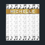 "Custom Name   Grid of Musical Notes Notepad<br><div class=""desc"">This notepad design features a grid of music notes. It also features a custom name within a faux gold like colored area. [~Z0000037]</div>"